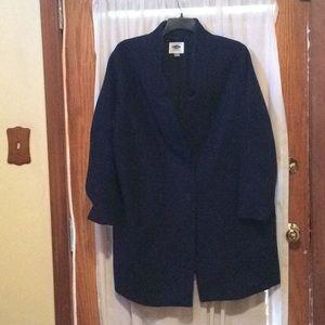 Navy plush wool car coat